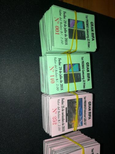impresión de boletos, números, a color, cartulina con imagen