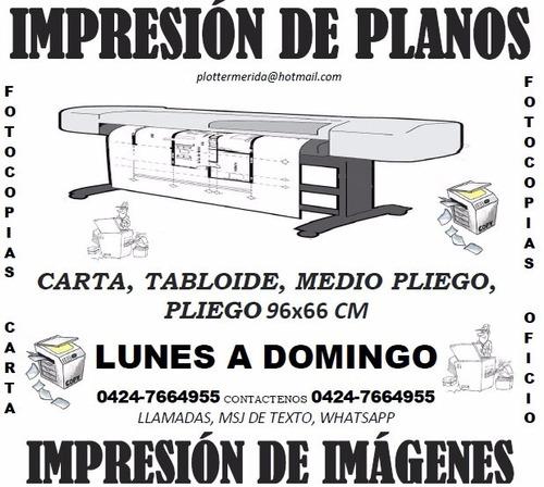 impresión de planos, e imagenes ploteo 96x66cm y tabloide