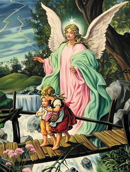 Impresi n lienzo pintura angel de la guarda arte cuadros for Guarda cosas para jardin
