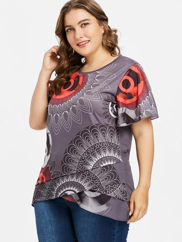 impresión más tamaño aleteo manga superposición t -camisa