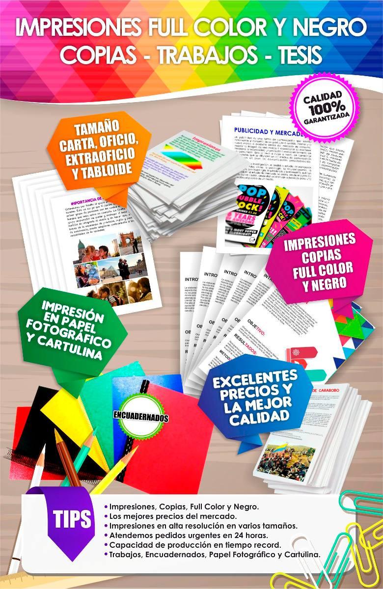 Impresión Y Copia, Full Color, Trabajos, Tesis, Desde 1hoja - Bs ...