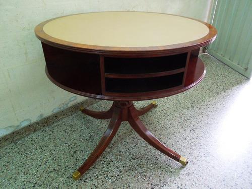 impresionante mesa centro sala sheraton ingles juego cuero.