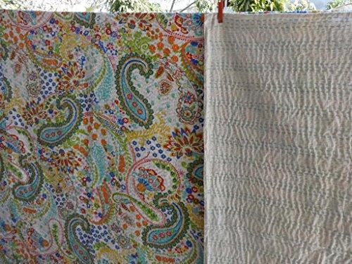 impreso blanco paisley kantha edredón, colcha de algodón de