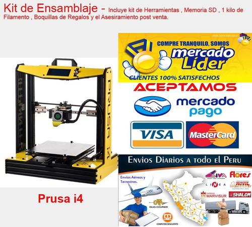 impresora 3d prusa i4 armada ,+2 carretes de pla o abs
