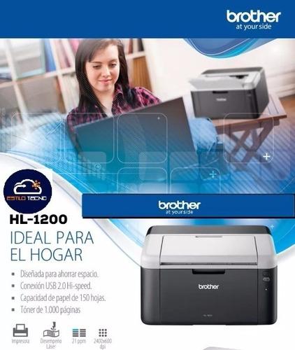 impresora brother laser hl1200 monocromática negro