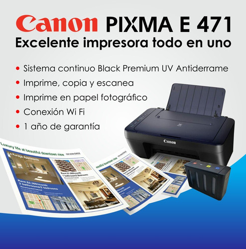 impresora canon e471 wifi sistema black premiun uv