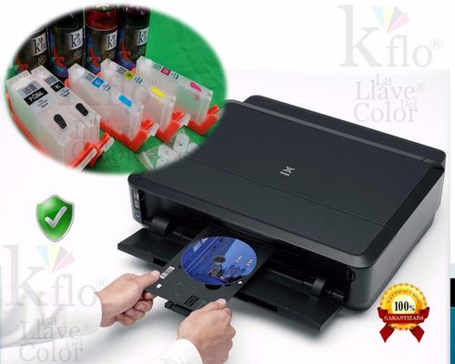 impresora canon ip7210 y cartuchos recargables, imprime cd´s