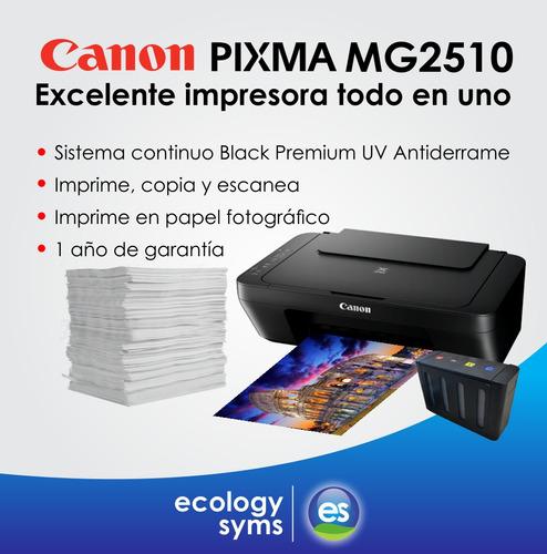 impresora canon mg2510 con sistema continuo black premium uv