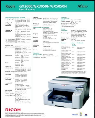 impresora de escritorio ricoh aficio 5050
