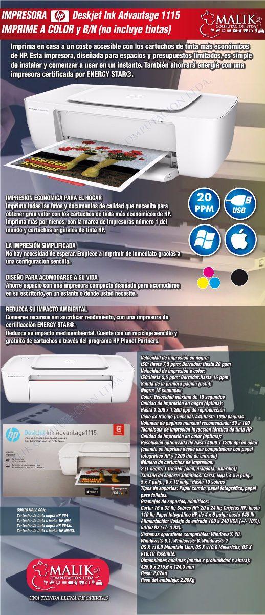 Impresora Deskjet Ink Hp 1115 Color Y Negro 20ppm - $ 2.490 en ...