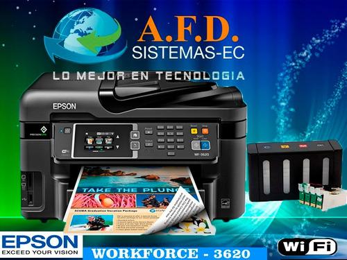 impresora epson wf 3620 con sistema de tinta continua