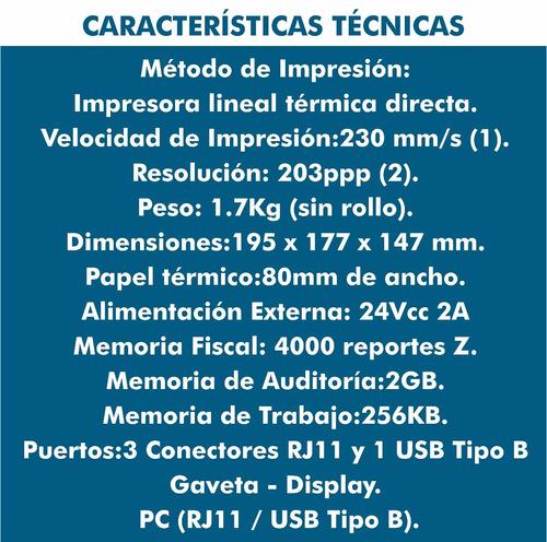 impresora fiscal hka80 alto volumen facturación envio gratis