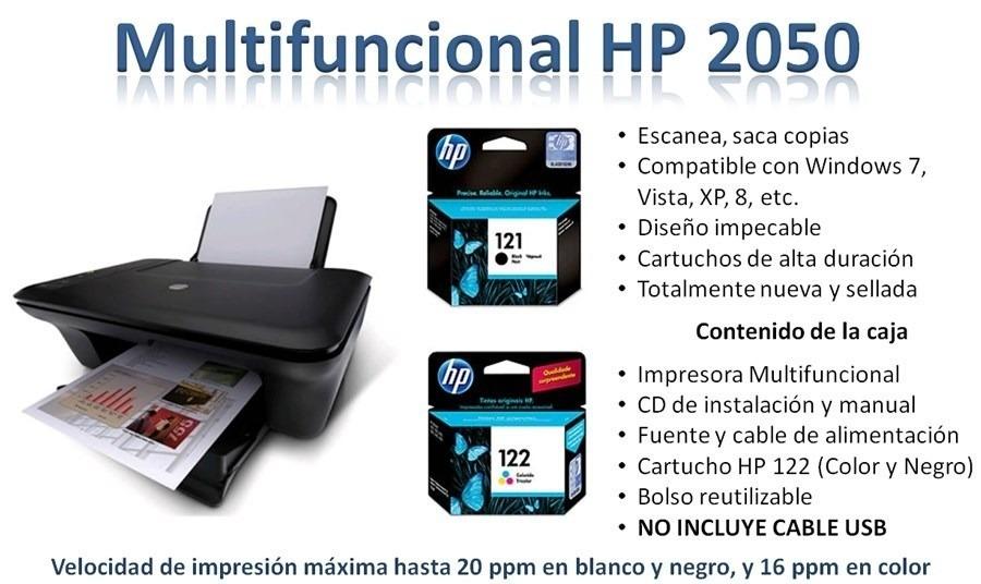 Impresora Hp 2050 Multifuncional Cartuchos Bs 0 66 En