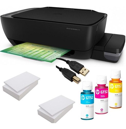 impresora hp 410 wifi + tintas gt52 color + 2 resma + cable