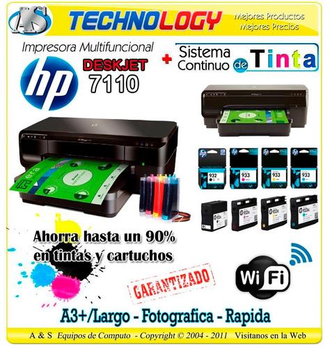 impresora hp 7110 wifi formato largo a3 + sistema continuo