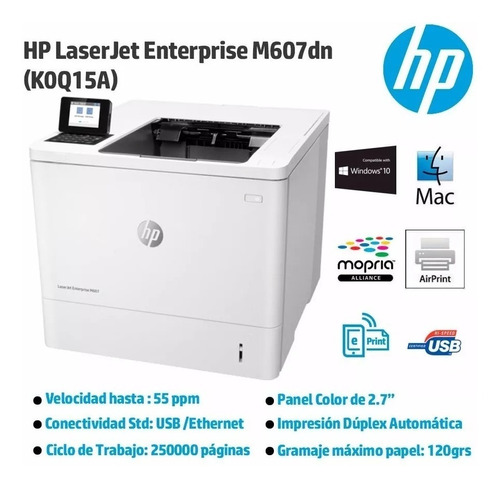 impresora hp laserjet mono m607dn duplex red eprint k0q15a