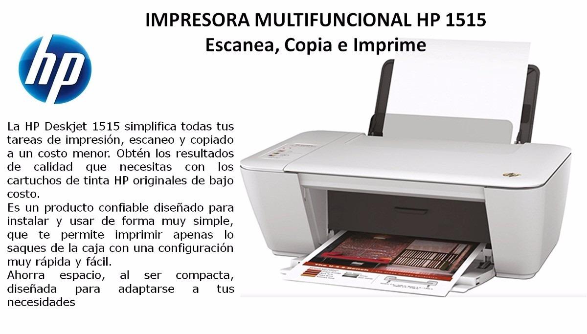 Impresora Hp Multifunción Deskjet 1515 - $ 2.700,00 en Mercado Libre