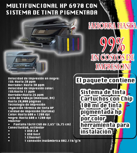 impresora hp officejet pro 6970 +sistema continuo pingmento