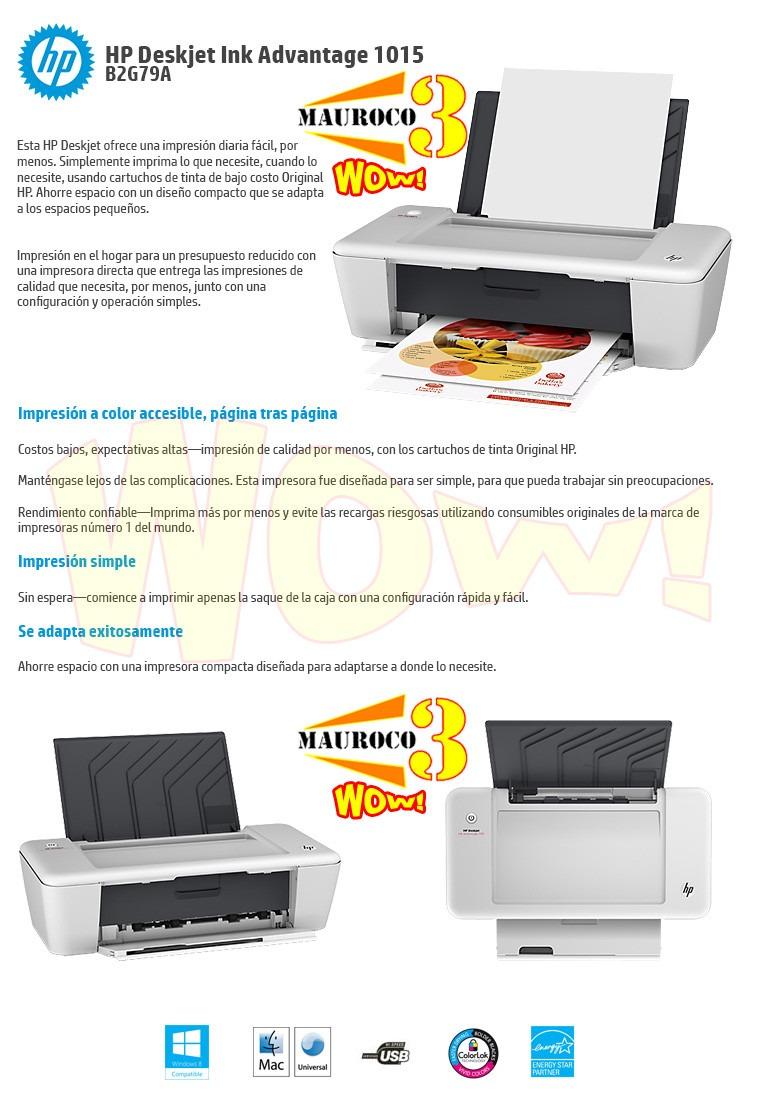 Wow Impresora Hp1015 Inyeccion De Tinta Incluye Cartucho 662 - Bs ...