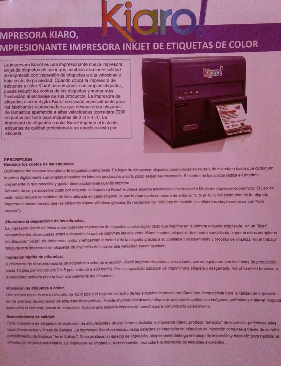 Impresora Kiaro - U$S 26.000,00 en Mercado Libre