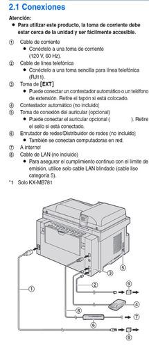 impresora laser panasonic multifuncional con toner kx-mb781