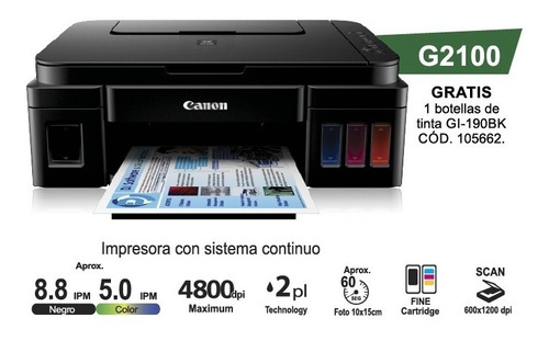 impresora multifunción canon g3100 sistema continuo con wifi