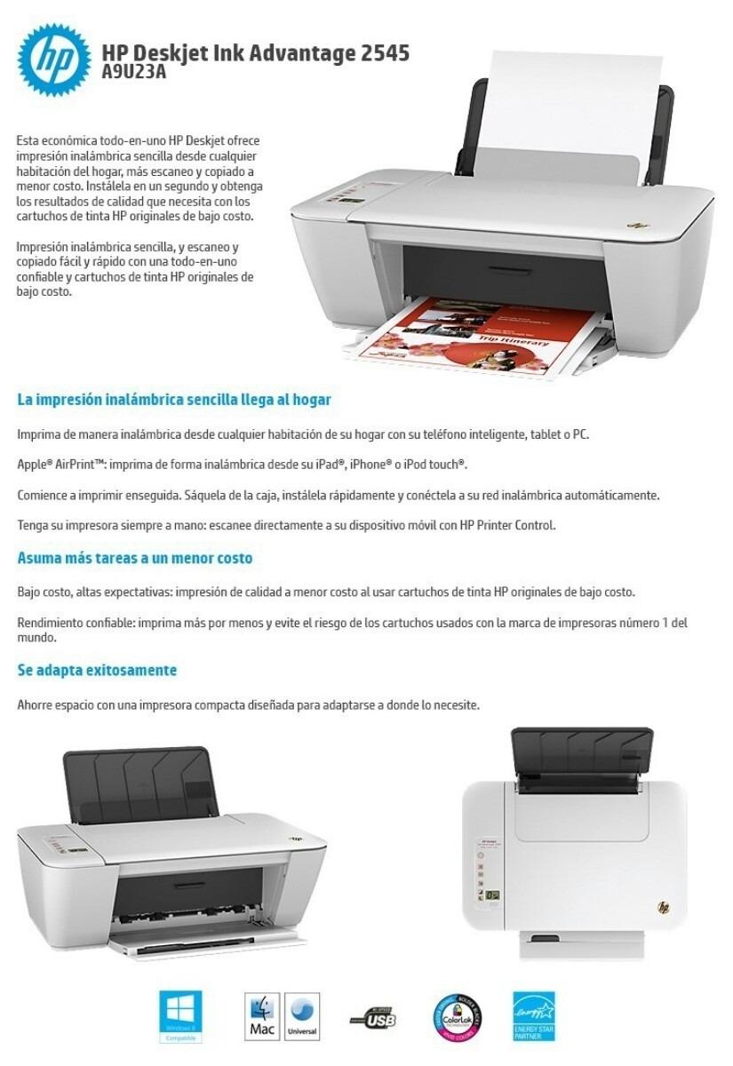Impresora Multifunción Color Hp Deskjet 2545 Wifi - $ 3.380,00 en ...