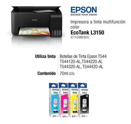 impresora multifunción epson ecotank l3150 wifi sis continuo