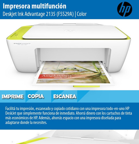 impresora multifuncion hp 2135 deskjet imprime copia escaner