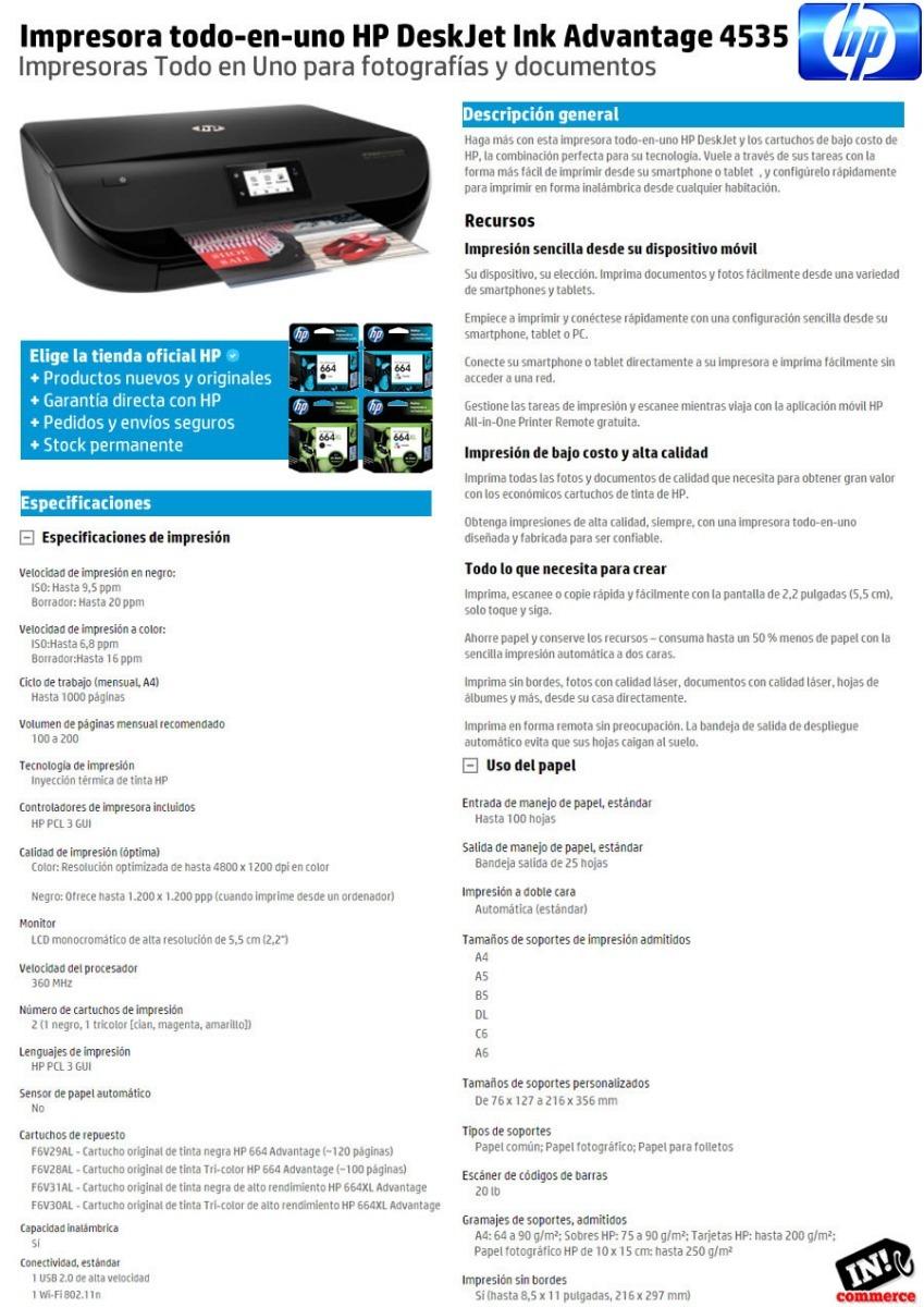 Impresora Multifuncion Hp 4535 Wifi Airprint Imprime 2 Caras ...