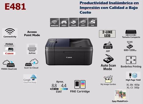 impresora multifuncional canon e481 sistema continuo y kit t