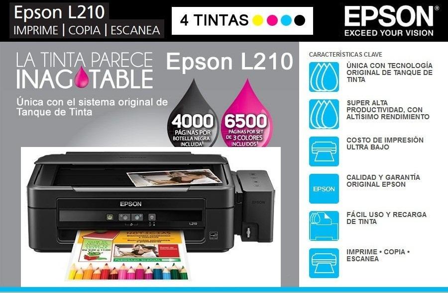 Impresora Multifuncional Epson L210 Tinta Continua A Color