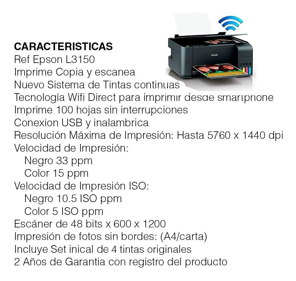 Impresora Multifuncional Epson L3150 Wifi Direct