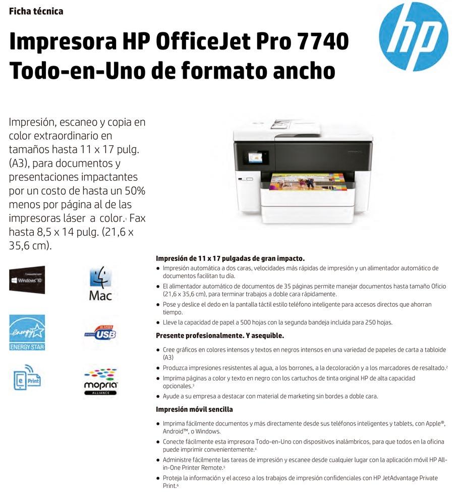 Impresora Multifuncional Hp Officejet Pro 7740 Tabloide - $ 1.004 ...