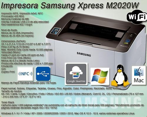impresora samsung laser m2020w wifi usb f & a ituzaingo