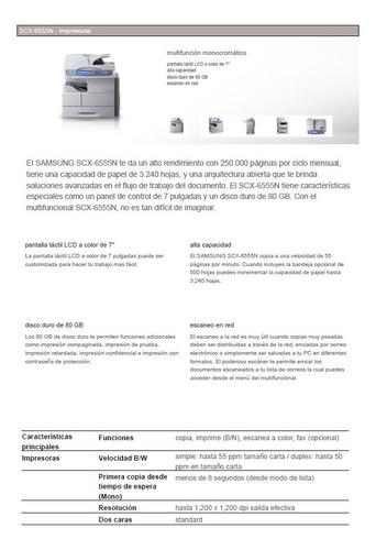 impresora samsung scx 6555 platina oficio abrochadora autom.