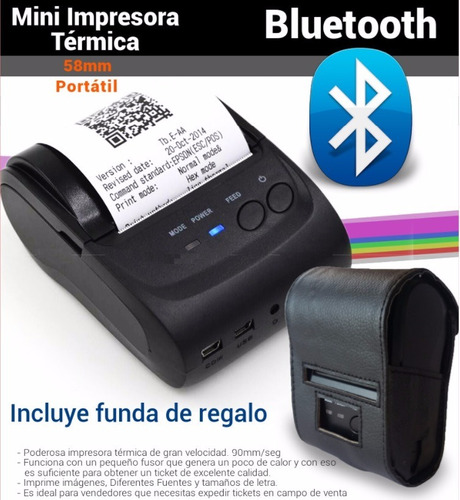 Impresora Termica Portatil Bluetooth 58mm Pos Miniprinter