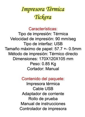 impresora termica tickera nueva tiquera usb bagc