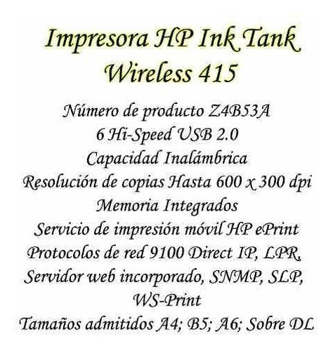 impresora tinta continua hp ink tank 415 wireless bagc