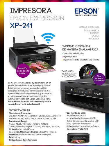 impresora wifi epson xp241 con sistema de recarga