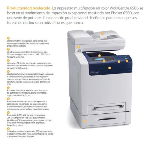 impresora xerox  multifunción color worcentre 6505n usada
