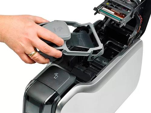 impresora zebra zc100 + ribbon ymcko + 100 tarjetas pvc full