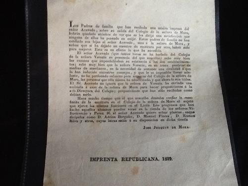 impresos chilenos josé joaquín de mora - 1829 - muy escaso
