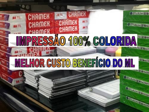 impressao de apostilas 100 % colorida + capa plastificada