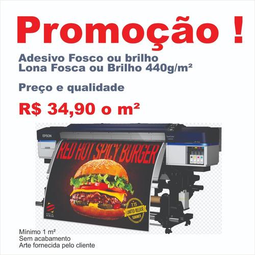 impressão banner ou adesivo r$ 34,90 m² alta qualidade