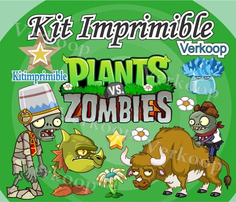 Kit imprimible plantas vs zombies candy bar fiesta for Decoracion con globos plantas contra zombies