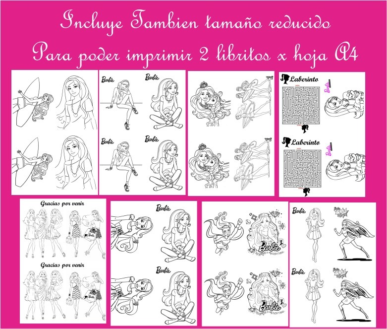 Imprimible Libritos Barbie Silueta Para Colorear Pintar - $ 65,00 en ...