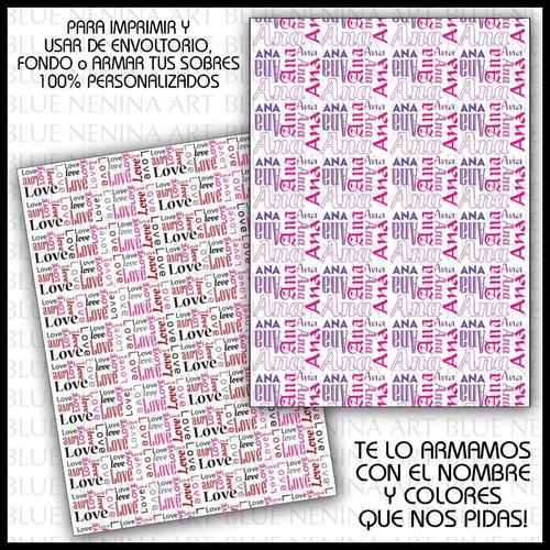 Imprimible Papel Personalizado Texto Nombre Diseño Cajas Tag - $ 60 ...