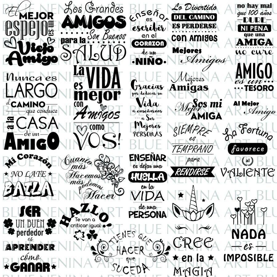 Imprimibles 80 Frases Illustrator .ai Vector Vinilo Plotter - $ 250 ...