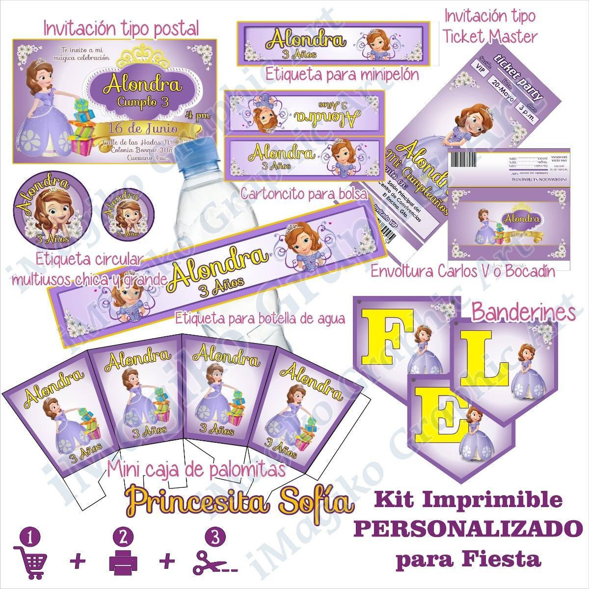 Imprimibles Fiesta Princesa Sofia Mesa De Dulces Personaliz ...